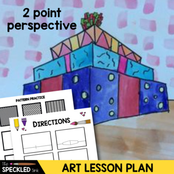 elementary art lesson plan two point perspective stacked boxes