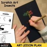 Elementary Art Lesson. Scratch art. Valentine Love Bugs.