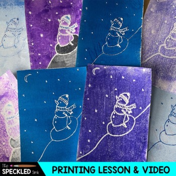 Elementary Art Lesson. Snowman Printmaking Lesson. Step by Step.