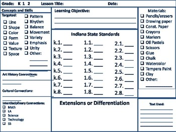 Elementary Art Lesson and Project Template (Indiana Academic Standards version)
