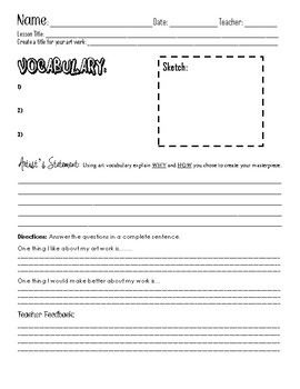 Elementary Art Project Introduction, Reflection, and Critique Sheet!
