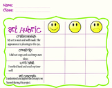 Elementary Art Rubric and Reflection Worksheet