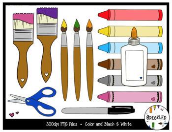 Elementary Art Supplies Clip Art. 101 piece Clip Art Set
