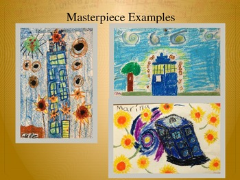 Elementary Art Lesson 4th: Van Gogh Impressionism Oil Pastel Sunflowers Dr Who