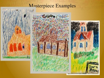 Elementary Art Lesson 5th: Van Gogh Impressionism Church with Oil Pastels