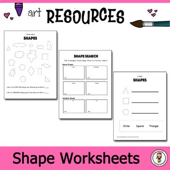 Elementary Art Worksheet Bundle. Introducing students to shape