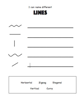 Elementary Art Worksheet Bundle. Line Identification, Matching and drawing lines