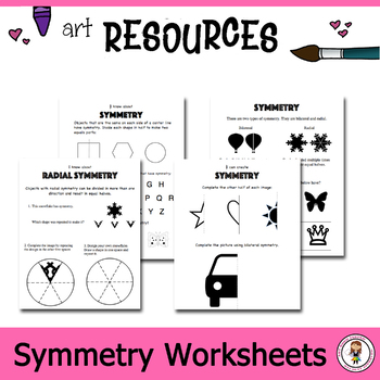 Elementary Art Worksheet Bundle. Symmetrical Shapes and drawing.