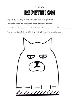 Elementary Art Worksheet. Identify and apply pattern types to a drawing.