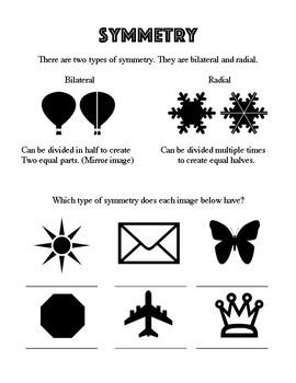 Elementary Art Worksheet. Identifying bilateral and radial symmetry in art class
