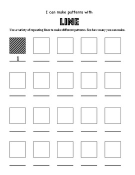 Elementary Art Worksheet Set. Introducing students to line