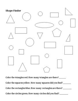 Elementary Art Worksheet Set. Learning about shape and form.