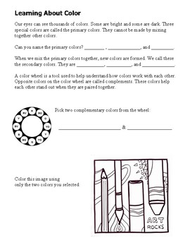 Elementary Art Worksheet. Teach color theory with complementary colors.