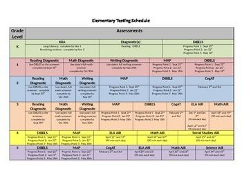 elementary schedule template