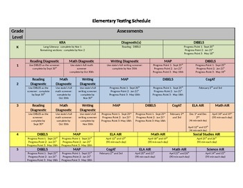 Elementary Assessment Schedule Template