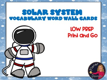 Elementary Astronomy Solar System Unit Science Vocabulary Word Wall