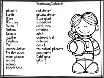 Elementary Astronomy Solar System and Moon phases  Science Vocabulary Word Wall