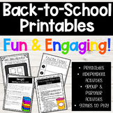 Elementary Back to School Printables