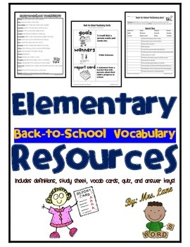 Elementary Back-to-School Vocabulary Resources