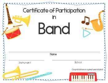 Elementary Band Certificate of Participation