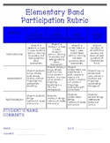 Elementary Band Participation Rubric