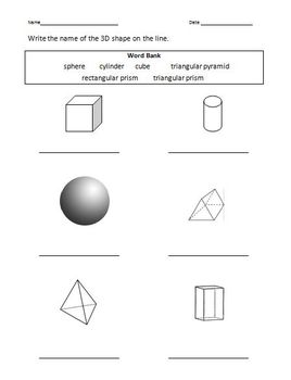 Elementary Beginning Geometry - 4 page packet - 3D shapes
