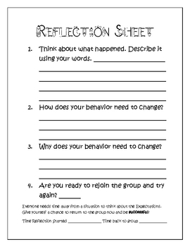 elementary behavior student reflection sheet tpt. Black Bedroom Furniture Sets. Home Design Ideas
