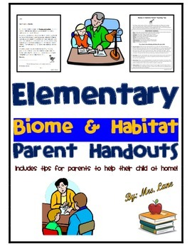 Elementary Biome and Habitat Parent Handouts (Help At Home)
