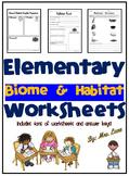 Elementary Biome and Habitat Worksheets