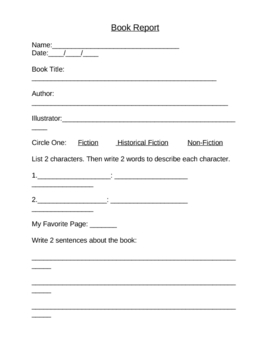 Elementary Book Report K-3
