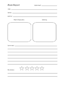 Elementary Book Report Template - fiction
