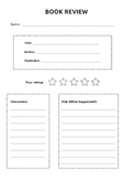 Elementary Book Review Worksheet