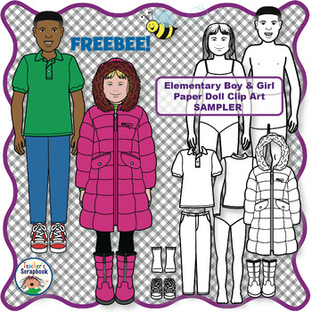Elementary Boy and Girl Paper Doll Clip Art SAMPLER