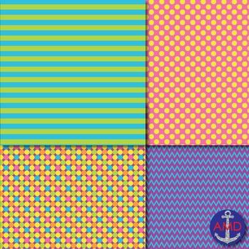 Elementary Bright Chevron, Polka Dot & Striped Paper Pack