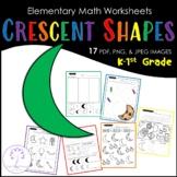 Elementary CRESCENT Shape Worksheets