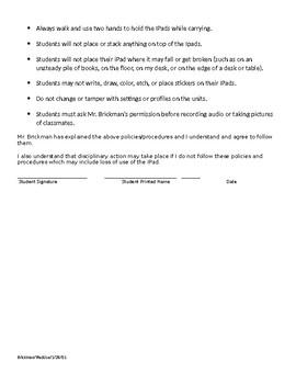 Elementary Campus Classroom IPad use policy