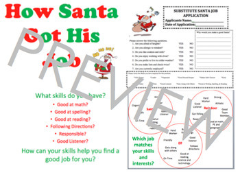 Elementary Career Awareness & Exploration; How Santa Got his Job Applications