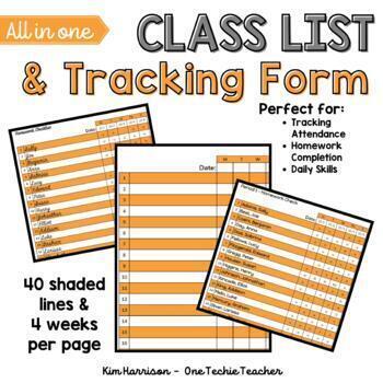 Elementary Class List Template (Excel) - Orange