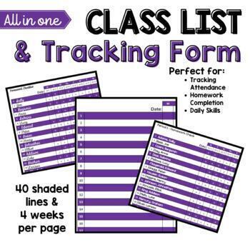 Elementary Class List Template (Excel) - Purple