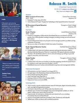 Creative Teacher Resume - Elementary Classic Template
