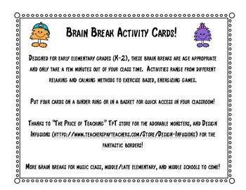 Elementary Classroom Brain Breaks!