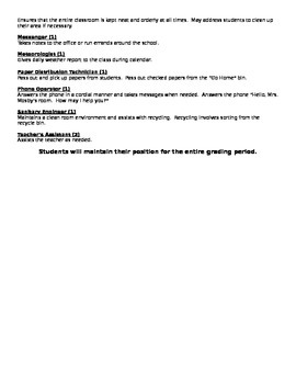 Elementary Classroom Job Application