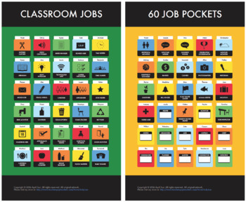 Elementary Classroom Jobs Chart: 60 Pocket Icons, Customizable Job Markers (K-6)
