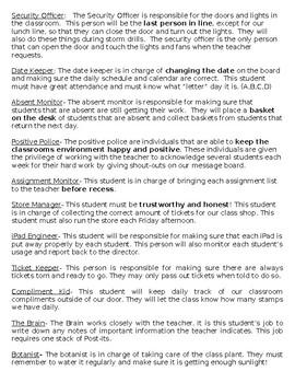 Elementary Classroom Jobs and Desciptions