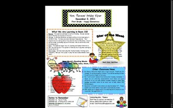Elementary Classroom Newsletter Template by Stephanie Thomas | TpT