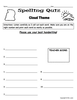 Elementary Clouds Spelling Resources