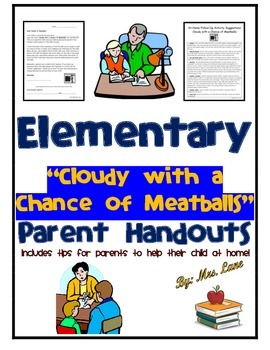 """Elementary """"Cloudy with a Chance of Meatballs"""" Parent Handouts (Help At Home)"""