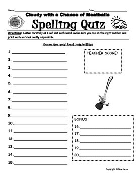 """Elementary """"Cloudy with a Chance of Meatballs"""" Spelling Resources"""