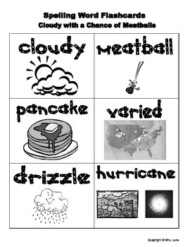 "Elementary ""Cloudy with a Chance of Meatballs"" Spelling Resources"