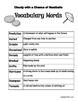 "Elementary ""Cloudy with a Chance of Meatballs"" Vocabulary Resources"
